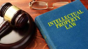 Gavel and intellectual property law book